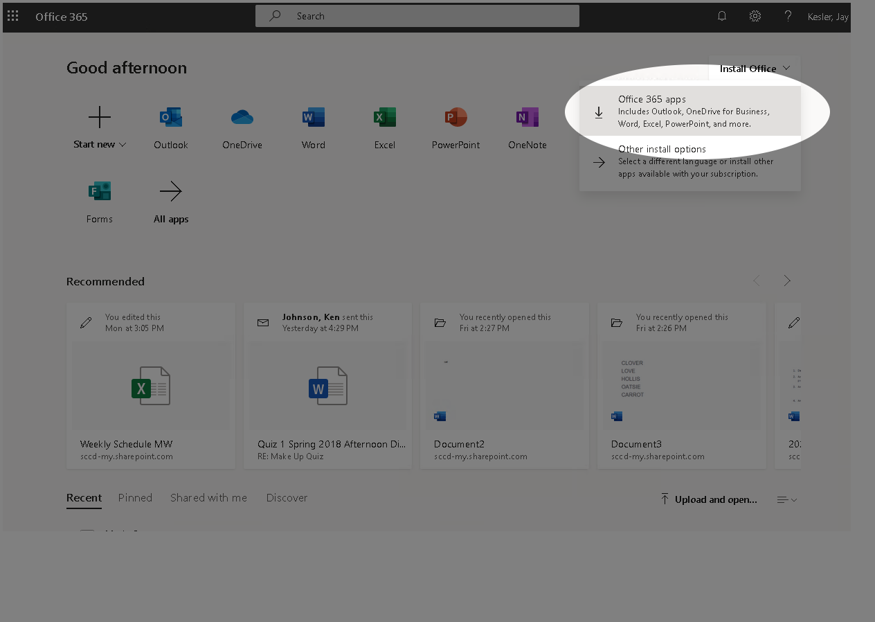 Image of Office 365 with Install Office link clicked, highlighting link to download Office 365 apps.
